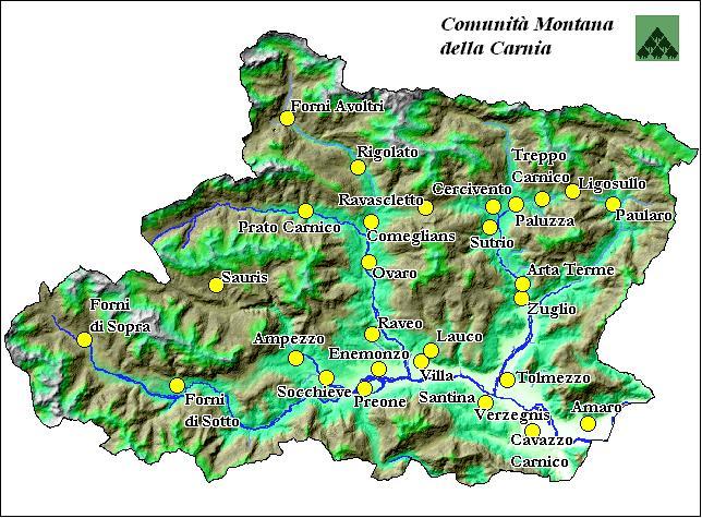 Cartina Geografica Carnia.Mappa Della Carnia Comunita Montana Della Carnia