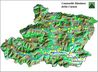 Cartina Fisica Del Friuli Venezia Giulia.Mappa Della Carnia Comunita Montana Della Carnia